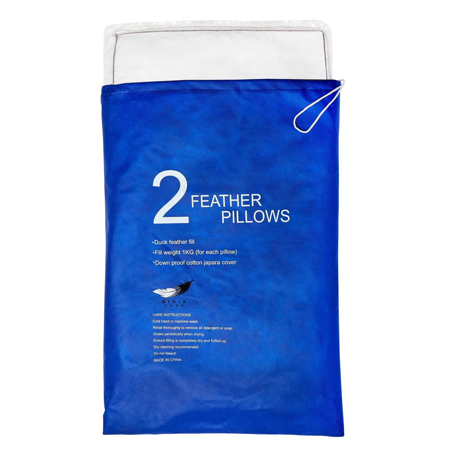 Twin pack feather pillow 1kg gioia casa for Drying feather pillows