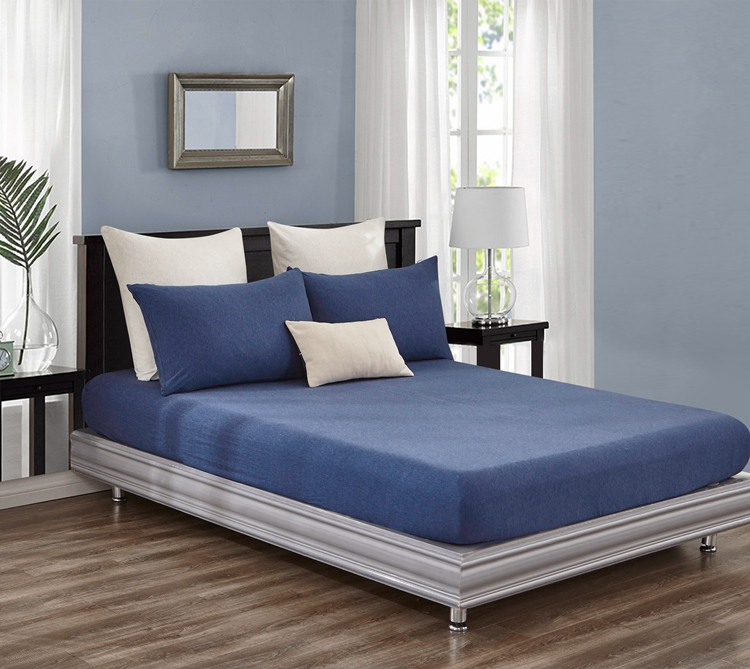 Jersey Cotton Fitted Sheet Blue Marble Gioia Casa