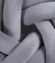 circle knot cushion-charcoal close-up