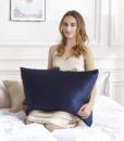 navy blue 100% mulberry silk pillow case 2