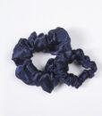 navy blue silk scrunchies